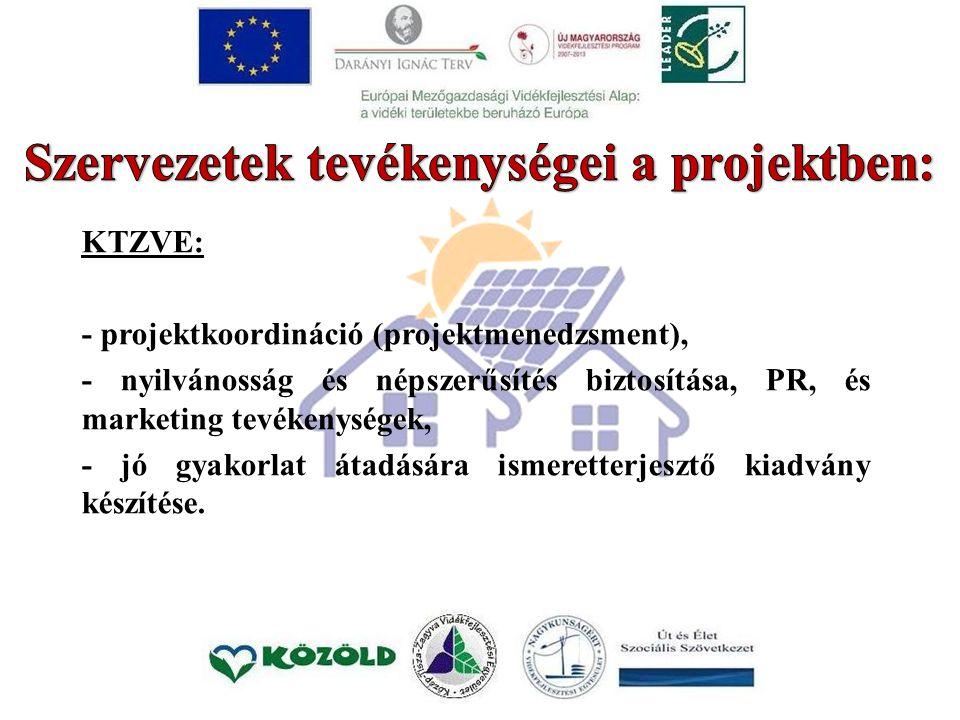 KTZVE: - projektkoordináció (projektmenedzsment), - nyilvánosság és népszerűsítés biztosítása, PR, és marketing tevékenységek, - jó gyakorlat átadásár