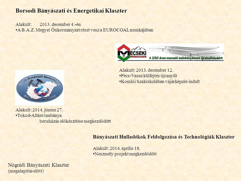 Borsodi Bányászati és Energetikai Klaszter Alakult:2013. december 4.-én A B.A.Z. Megyei Önkormányzat részt vesz a EUROCOAL munkájában Alakult: 2013. d