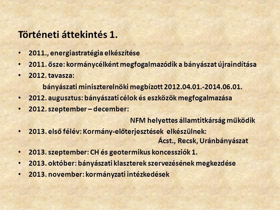 Történeti áttekintés 2.2013. december: Bányászati Klaszterek alakulnak 2014.