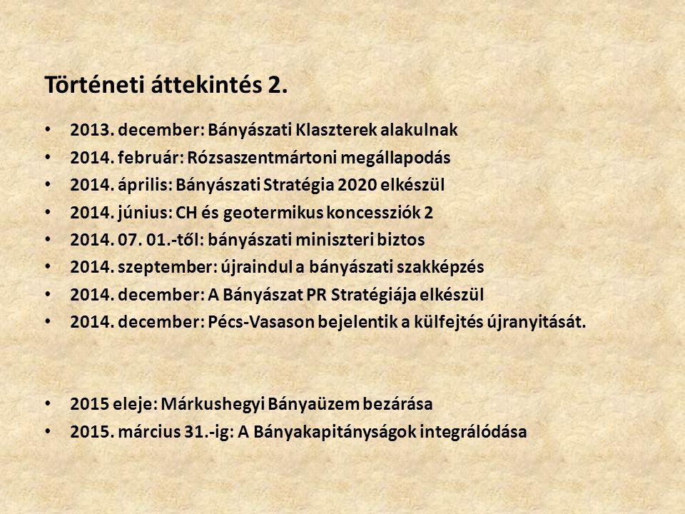 Történeti áttekintés 2. 2013. december: Bányászati Klaszterek alakulnak 2014. február: Rózsaszentmártoni megállapodás 2014. április: Bányászati Straté