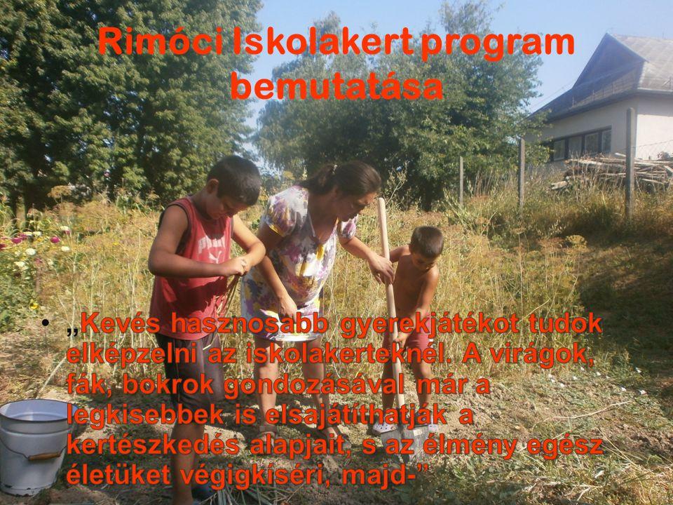 Rimóci Iskolakert program bemutatása