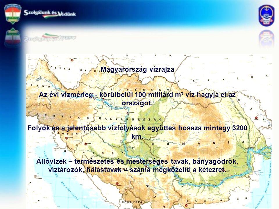 Magyarország vízrajza Az évi vízmérleg - körülbelül 100 milliárd m³ víz hagyja el az országot. Folyók és a jelentősebb vízfolyások együttes hossza min