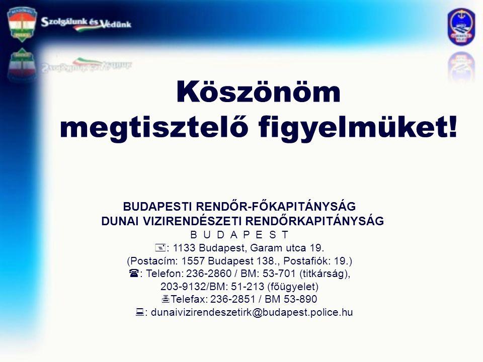 Köszönöm megtisztelő figyelmüket! BUDAPESTI RENDŐR-FŐKAPITÁNYSÁG DUNAI VIZIRENDÉSZETI RENDŐRKAPITÁNYSÁG B U D A P E S T  : 1133 Budapest, Garam utca