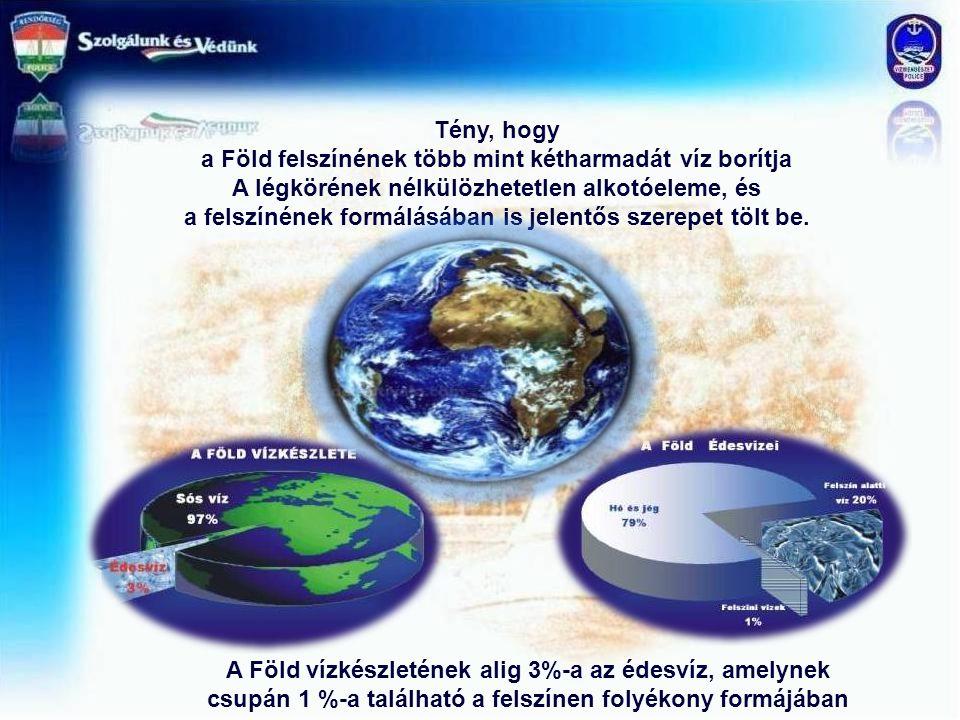 Tény, hogy a Föld felszínének több mint kétharmadát víz borítja A légkörének nélkülözhetetlen alkotóeleme, és a felszínének formálásában is jelentős s