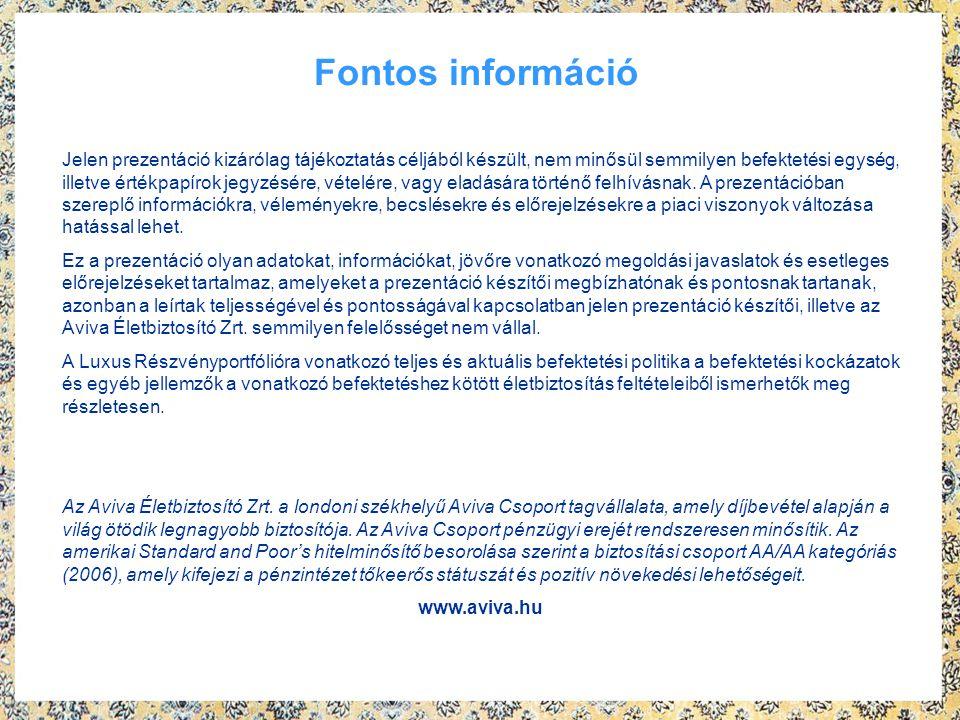 Fontos információ Jelen prezentáció kizárólag tájékoztatás céljából készült, nem minősül semmilyen befektetési egység, illetve értékpapírok jegyzésére