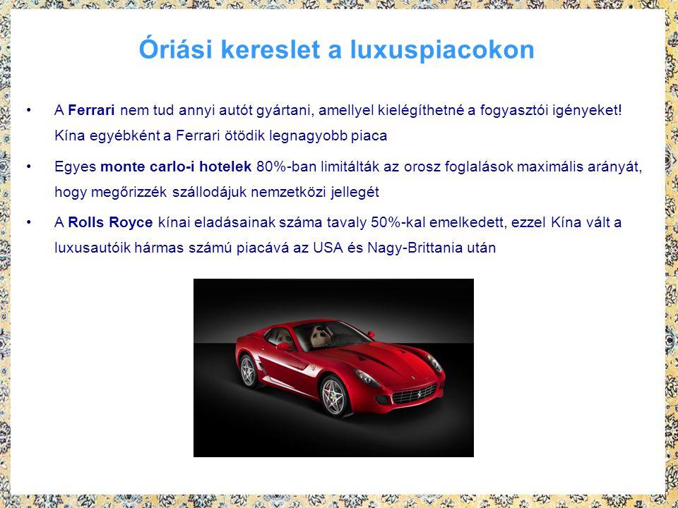 Óriási kereslet a luxuspiacokon A Ferrari nem tud annyi autót gyártani, amellyel kielégíthetné a fogyasztói igényeket! Kína egyébként a Ferrari ötödik