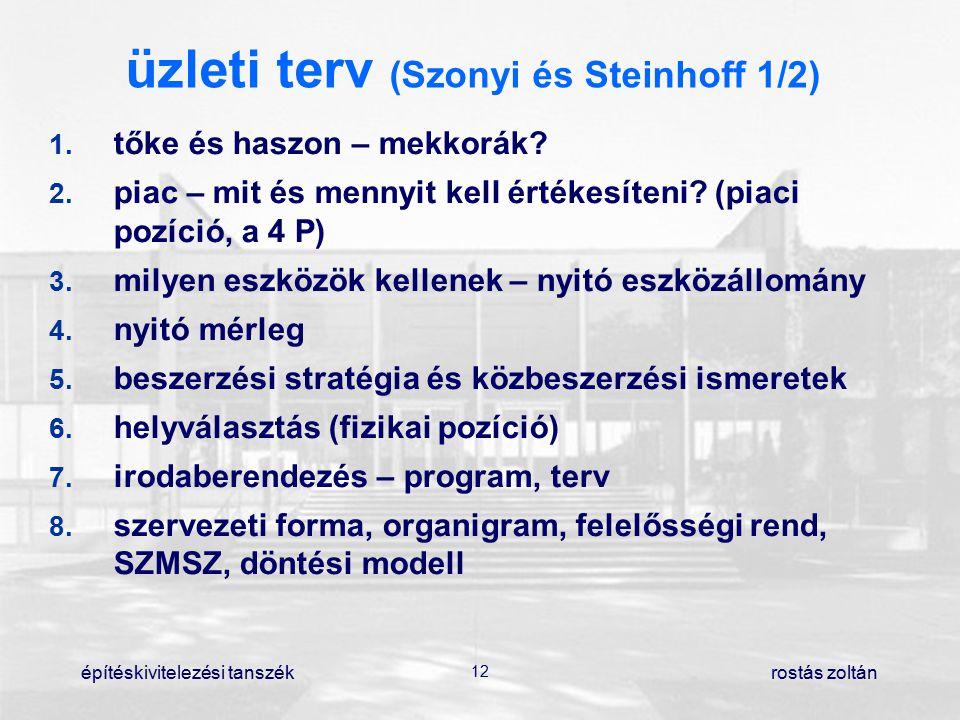 építéskivitelezési tanszék 12 rostás zoltán üzleti terv (Szonyi és Steinhoff 1/2) 1. tőke és haszon – mekkorák? 2. piac – mit és mennyit kell értékes
