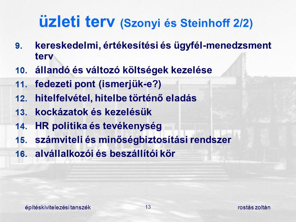 építéskivitelezési tanszék 13 rostás zoltán üzleti terv (Szonyi és Steinhoff 2/2) 9. kereskedelmi, értékesítési és ügyfél-menedzsment terv 10. álland