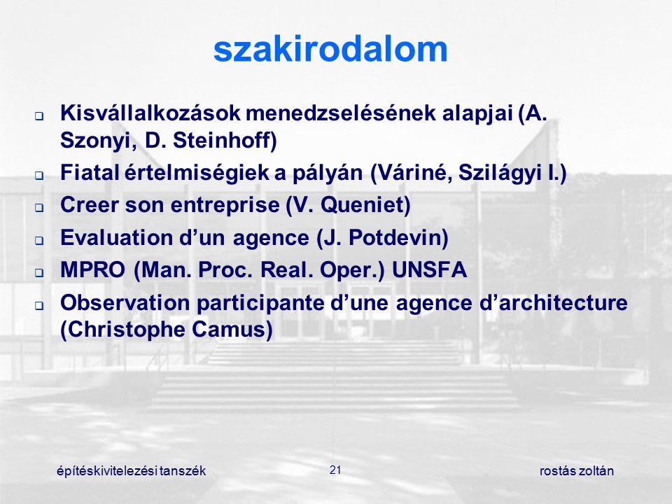 építéskivitelezési tanszék 21 rostás zoltán szakirodalom  Kisvállalkozások menedzselésének alapjai (A. Szonyi, D. Steinhoff)  Fiatal értelmiségiek
