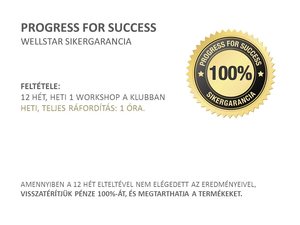 PROGRESS FOR SUCCESS WELLSTAR SIKERGARANCIA FELTÉTELE: 12 HÉT, HETI 1 WORKSHOP A KLUBBAN HETI, TELJES RÁFORDÍTÁS: 1 ÓRA. AMENNYIBEN A 12 HÉT ELTELTÉVE