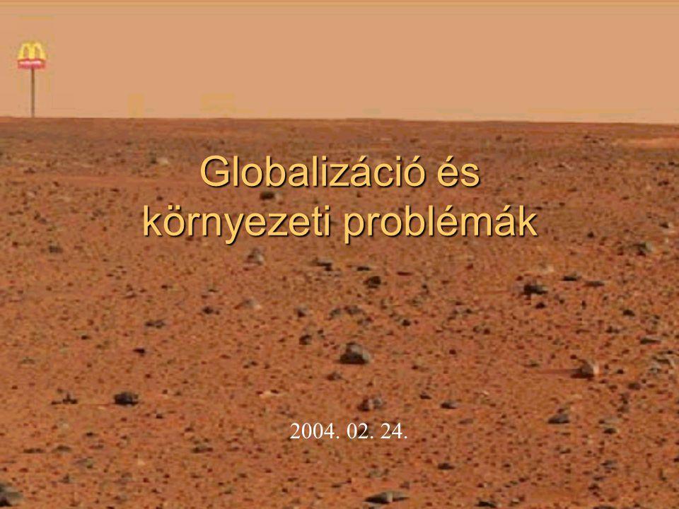 Az előadás vázlata Főbb globális környezeti problémák: ( népességnövekedés, energiaforrások, éghajlati változások, talajokkal és vizekkel kapcsolatos problémák) Ökológiai lábnyomunk Környezetvédelem nemzetközi szinten (Stockholmi, Riói Konferencia, Brundtland jelentés, Kiotói Jegyzőkönyv, Johannesburg)
