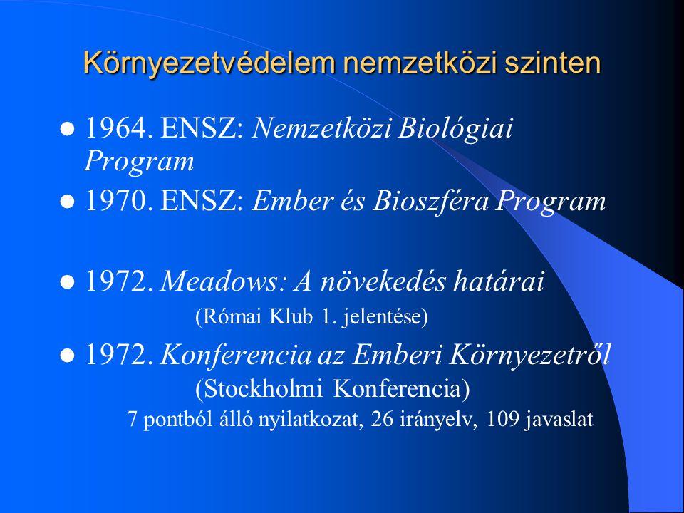 Környezetvédelem nemzetközi szinten 1964. ENSZ: Nemzetközi Biológiai Program 1970. ENSZ: Ember és Bioszféra Program 1972. Meadows: A növekedés határai