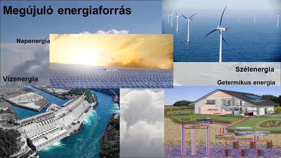 Megújuló energiaforrás Vízenergia Getermikus energia Szélenergia Napenergia