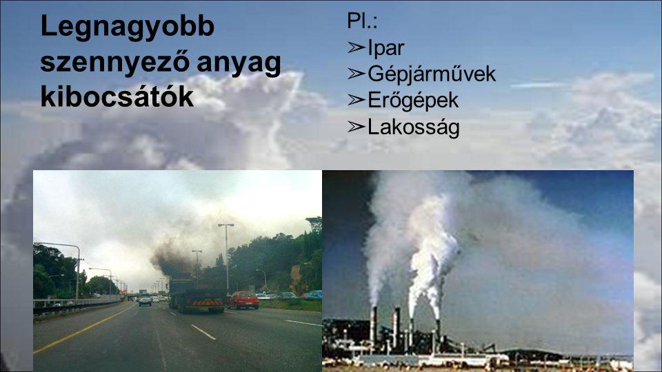 Legnagyobb szennyező anyag kibocsátók Pl.: ➢ Ipar ➢ Gépjárművek ➢ Erőgépek ➢ Lakosság