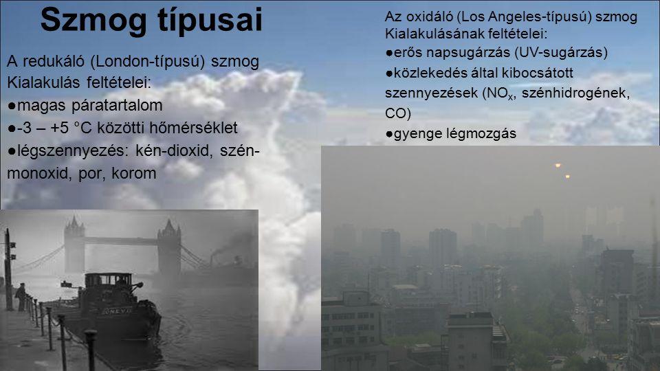 Szmog típusai A redukáló (London-típusú) szmog Kialakulás feltételei: ●magas páratartalom ●-3 – +5 °C közötti hőmérséklet ●légszennyezés: kén-dioxid,