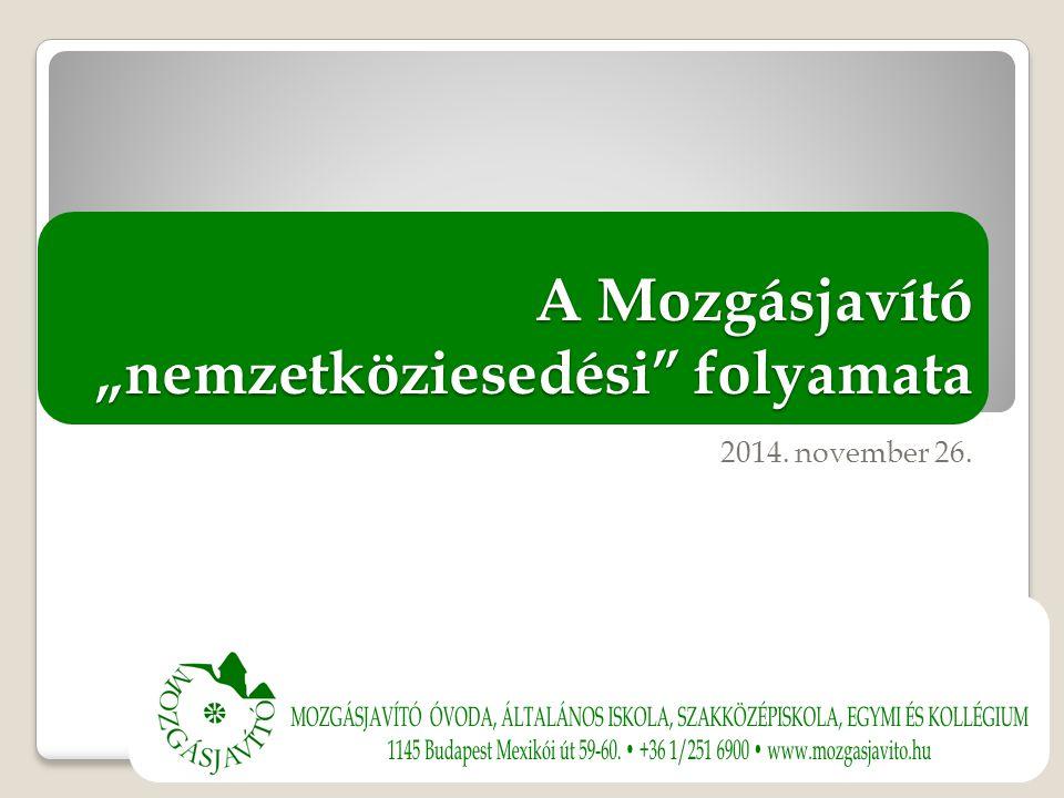 """A Mozgásjavító """"nemzetköziesedési folyamata 2014. november 26."""