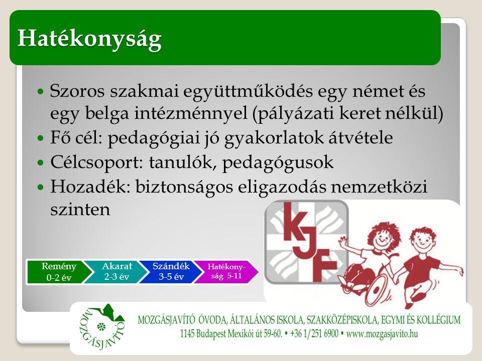 Szoros szakmai együttműködés egy német és egy belga intézménnyel (pályázati keret nélkül) Fő cél: pedagógiai jó gyakorlatok átvétele Célcsoport: tanulók, pedagógusok Hozadék: biztonságos eligazodás nemzetközi szinten Hatékonyság Remény 0-2 év Akarat 2-3 év Szándék 3-5 év Hatékony- ság 5-11