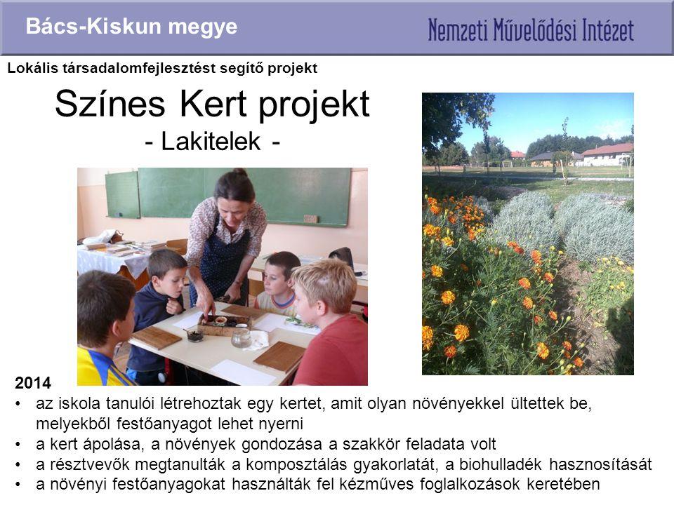 Színes Kert projekt - Lakitelek - Bács-Kiskun megye 2014 az iskola tanulói létrehoztak egy kertet, amit olyan növényekkel ültettek be, melyekből festő