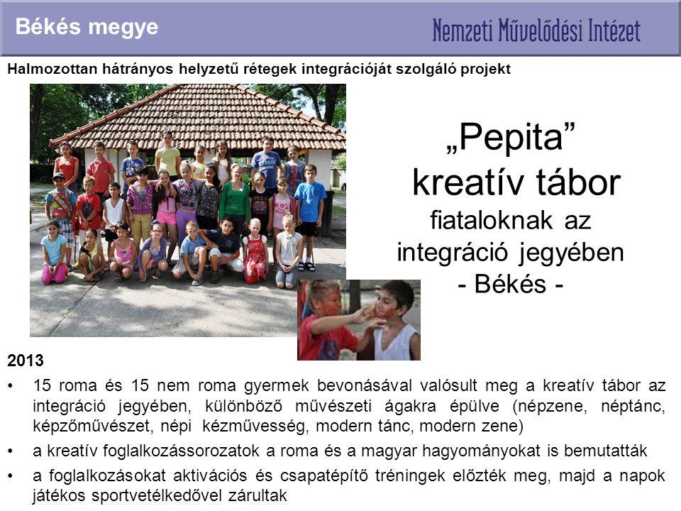"""""""Pepita"""" kreatív tábor fiataloknak az integráció jegyében - Békés - 2013 15 roma és 15 nem roma gyermek bevonásával valósult meg a kreatív tábor az in"""
