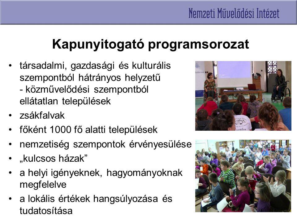 Kapunyitogató programsorozat társadalmi, gazdasági és kulturális szempontból hátrányos helyzetű - közművelődési szempontból ellátatlan települések zsá