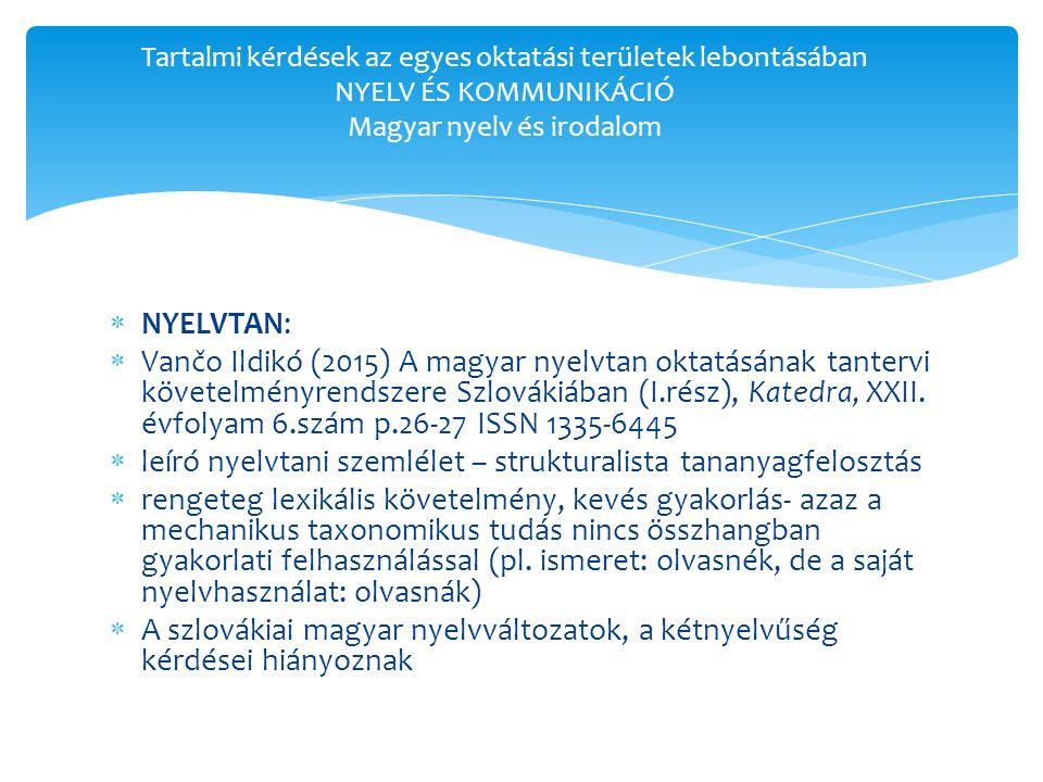  NYELVTAN:  Vančo Ildikó (2015) A magyar nyelvtan oktatásának tantervi követelményrendszere Szlovákiában (I.rész), Katedra, XXII.