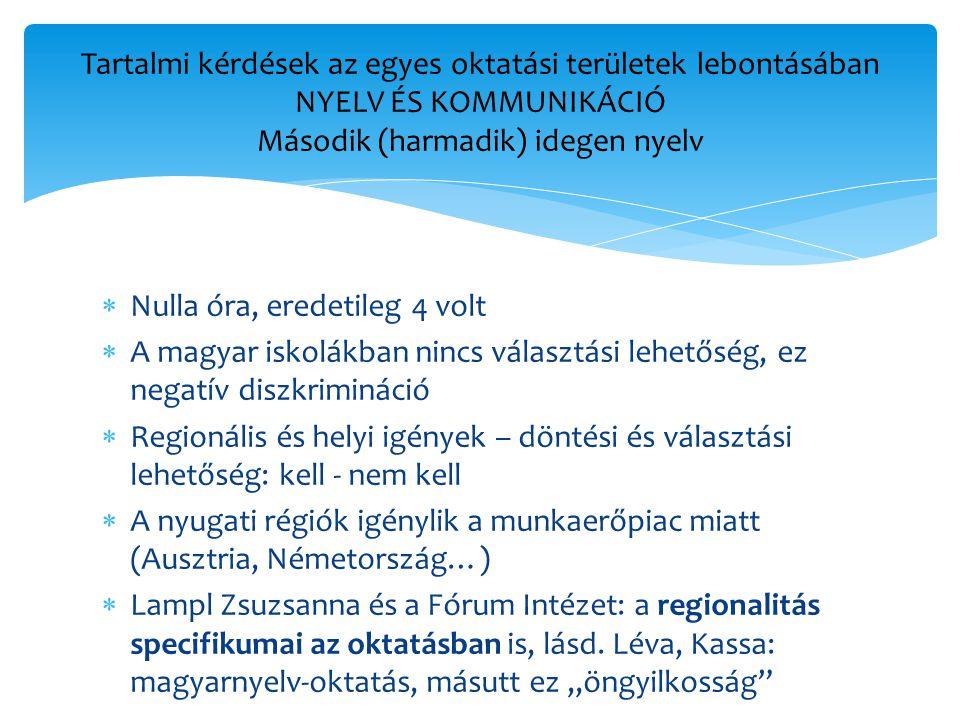  Nulla óra, eredetileg 4 volt  A magyar iskolákban nincs választási lehetőség, ez negatív diszkrimináció  Regionális és helyi igények – döntési és választási lehetőség: kell - nem kell  A nyugati régiók igénylik a munkaerőpiac miatt (Ausztria, Németország…)  Lampl Zsuzsanna és a Fórum Intézet: a regionalitás specifikumai az oktatásban is, lásd.