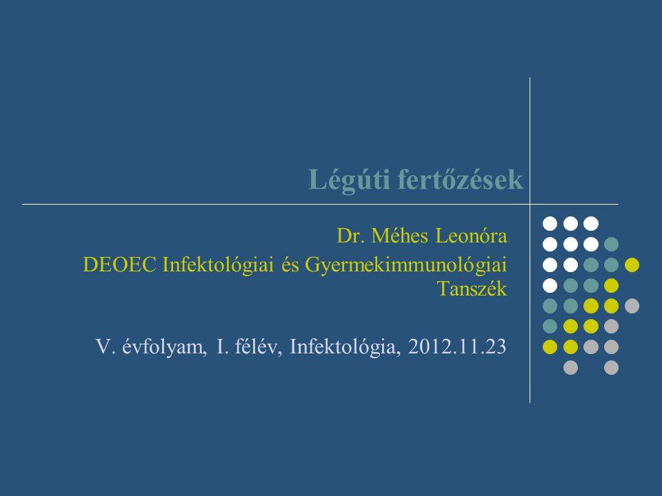 Terápia – kórokozó - rezisztencia S.pneumoniae: 5-10%: csökkent érz penicillinre, amoxicillinre, cephalosporinra, 35% rezisztencia: makrolidokra 40% rezisztencia: tetraciklinre hatékony lehet: amoxicillin, cefuroxim, cefprozil teljes rezisztencia esetén: cefotaxim, ceftriaxon resp fluorokinolonok: levo-, moxifloxacin penicillin allergia: makrolid, clindamycin H.influenzae: res amoxi, érz 2., 3.