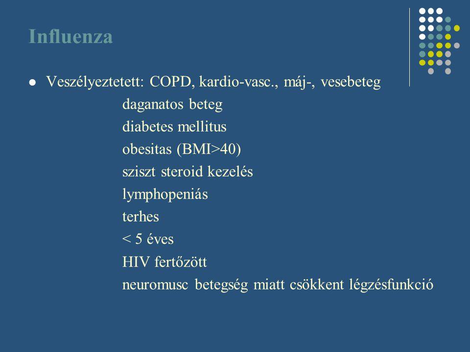Influenza Veszélyeztetett: COPD, kardio-vasc., máj-, vesebeteg daganatos beteg diabetes mellitus obesitas (BMI>40) sziszt steroid kezelés lymphopeniás