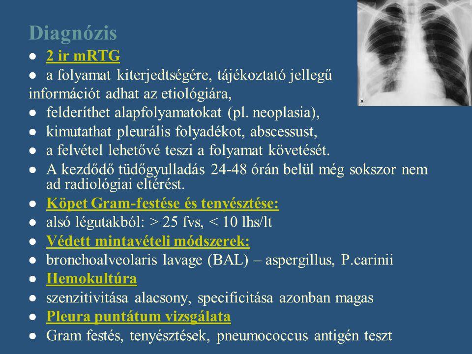 Diagnózis 2 ir mRTG a folyamat kiterjedtségére, tájékoztató jellegű információt adhat az etiológiára, felderíthet alapfolyamatokat (pl. neoplasia), ki