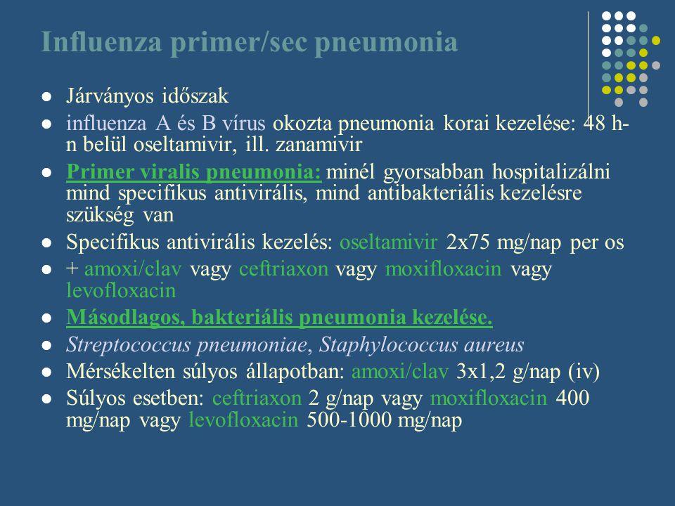 Influenza primer/sec pneumonia Járványos időszak influenza A és B vírus okozta pneumonia korai kezelése: 48 h- n belül oseltamivir, ill. zanamivir Pri