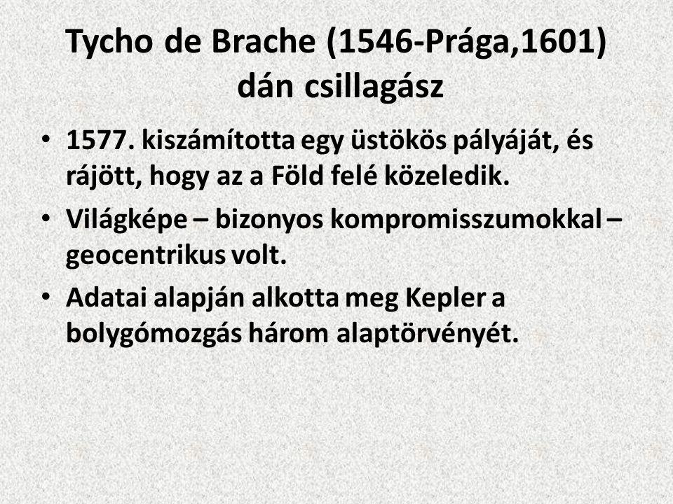 Tycho de Brache (1546-Prága,1601) dán csillagász 1577. kiszámította egy üstökös pályáját, és rájött, hogy az a Föld felé közeledik. Világképe – bizony