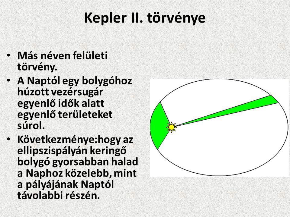 Kepler II. törvénye Más néven felületi törvény. A Naptól egy bolygóhoz húzott vezérsugár egyenlő idők alatt egyenlő területeket súrol. Következménye:h