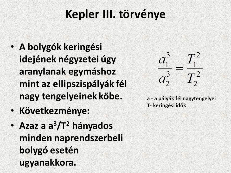 Kepler III. törvénye A bolygók keringési idejének négyzetei úgy aranylanak egymáshoz mint az ellipszispályák fél nagy tengelyeinek köbe. Következménye