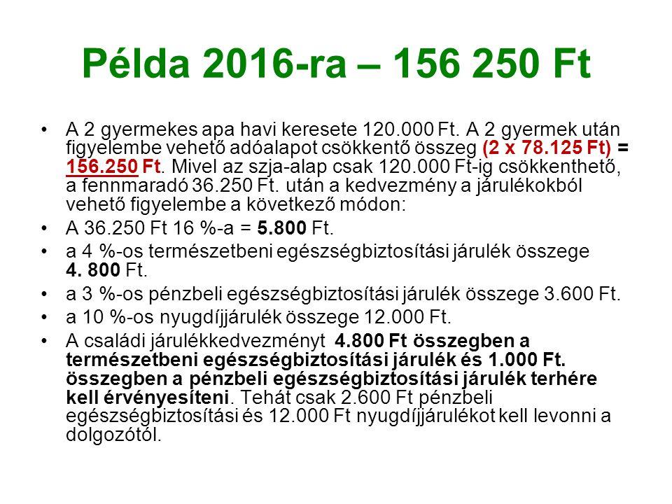 Példa 2016-ra – 156 250 Ft A 2 gyermekes apa havi keresete 120.000 Ft.