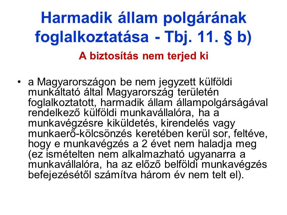 Harmadik állam polgárának foglalkoztatása - Tbj.11.