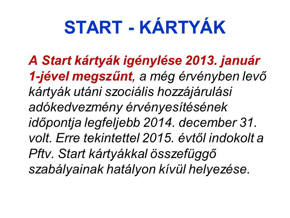 START - KÁRTYÁK A Start kártyák igénylése 2013.