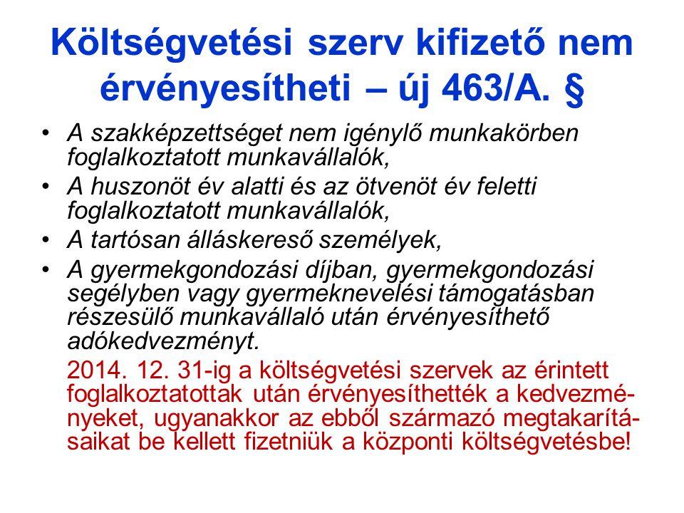 Költségvetési szerv kifizető nem érvényesítheti – új 463/A.