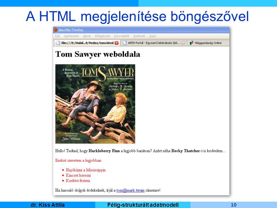 Master Informatique 10 dr. Kiss AttilaFélig-strukturált adatmodell A HTML megjelenítése böngészővel