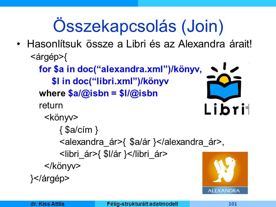 Master Informatique 101 dr. Kiss AttilaFélig-strukturált adatmodell Összekapcsolás (Join) Hasonlítsuk össze a Libri és az Alexandra árait! { for $a in
