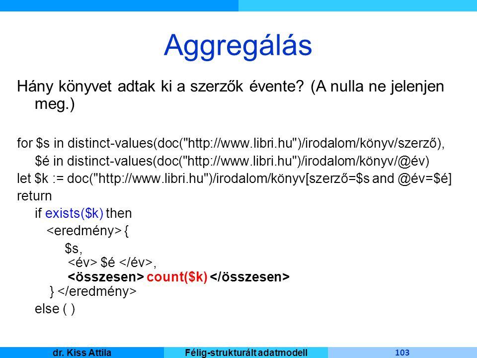 Master Informatique 103 dr. Kiss AttilaFélig-strukturált adatmodell Aggregálás Hány könyvet adtak ki a szerzők évente? (A nulla ne jelenjen meg.) for