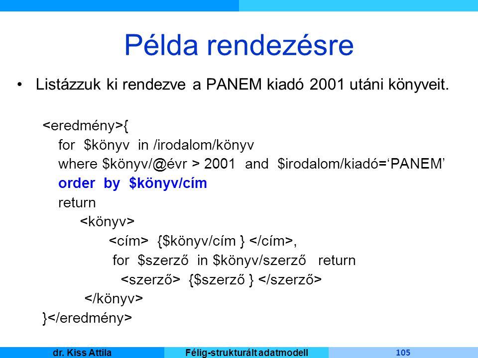 Master Informatique 105 dr. Kiss AttilaFélig-strukturált adatmodell Példa rendezésre Listázzuk ki rendezve a PANEM kiadó 2001 utáni könyveit. { for $k