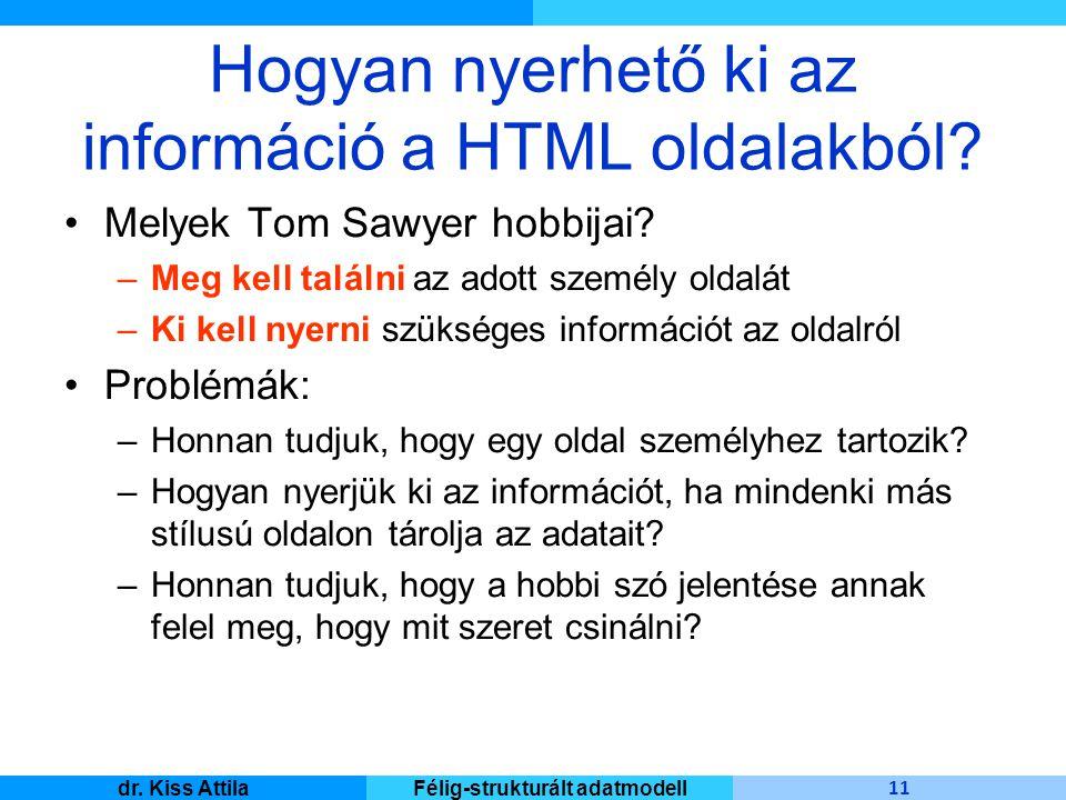 Master Informatique 11 dr. Kiss AttilaFélig-strukturált adatmodell Hogyan nyerhető ki az információ a HTML oldalakból? Melyek Tom Sawyer hobbijai? –Me