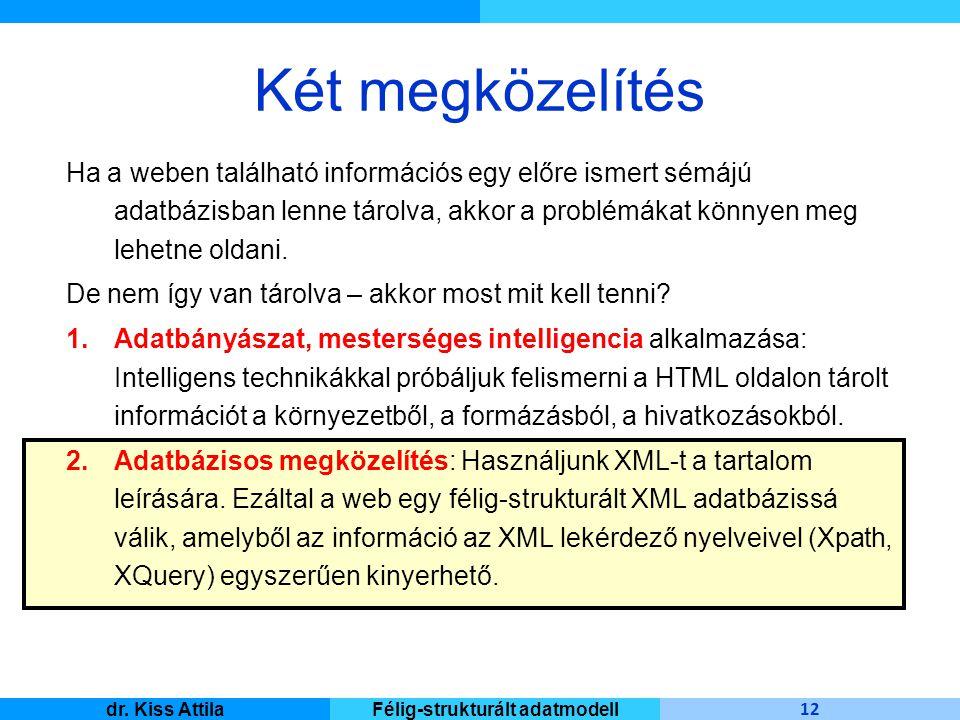Master Informatique 12 dr. Kiss AttilaFélig-strukturált adatmodell Két megközelítés Ha a weben található információs egy előre ismert sémájú adatbázis