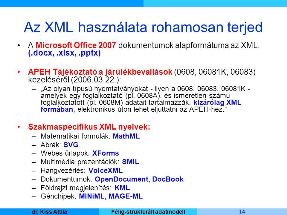 Master Informatique 14 dr. Kiss AttilaFélig-strukturált adatmodell Az XML használata rohamosan terjed A Microsoft Office 2007 dokumentumok alapformátu