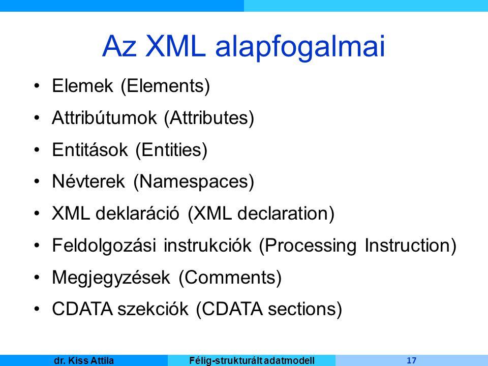 Master Informatique 17 dr. Kiss AttilaFélig-strukturált adatmodell Az XML alapfogalmai Elemek (Elements) Attribútumok (Attributes) Entitások (Entities