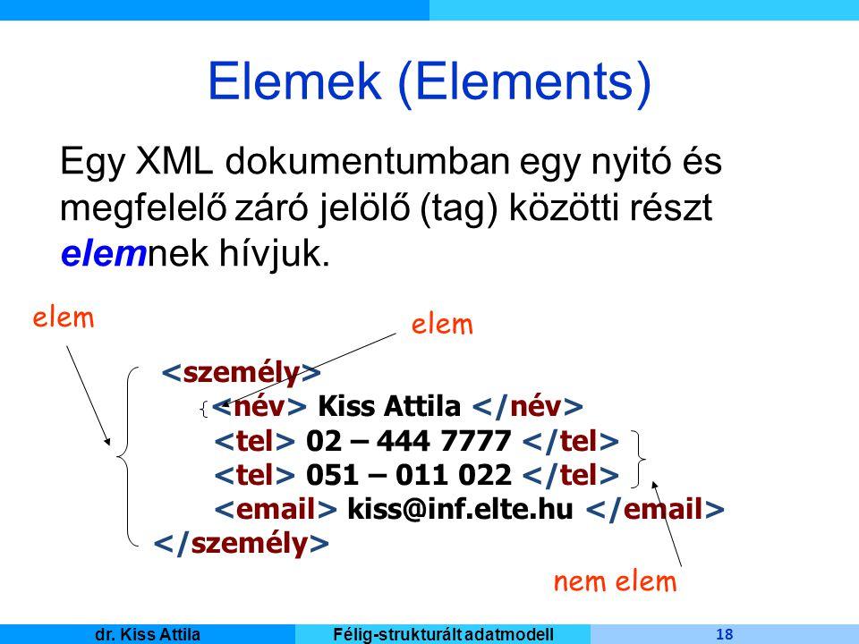 Master Informatique 18 dr. Kiss AttilaFélig-strukturált adatmodell Elemek (Elements) Egy XML dokumentumban egy nyitó és megfelelő záró jelölő (tag) kö