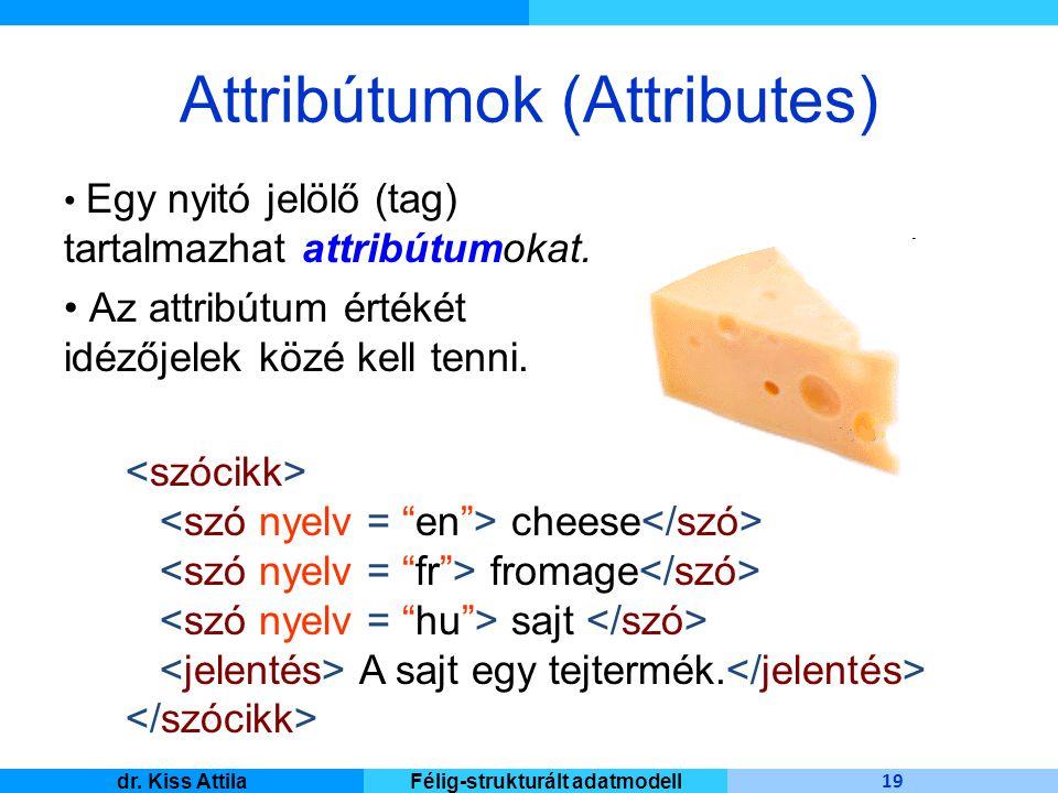 Master Informatique 19 dr. Kiss AttilaFélig-strukturált adatmodell Attribútumok (Attributes) Egy nyitó jelölő (tag) tartalmazhat attribútumokat. Az at