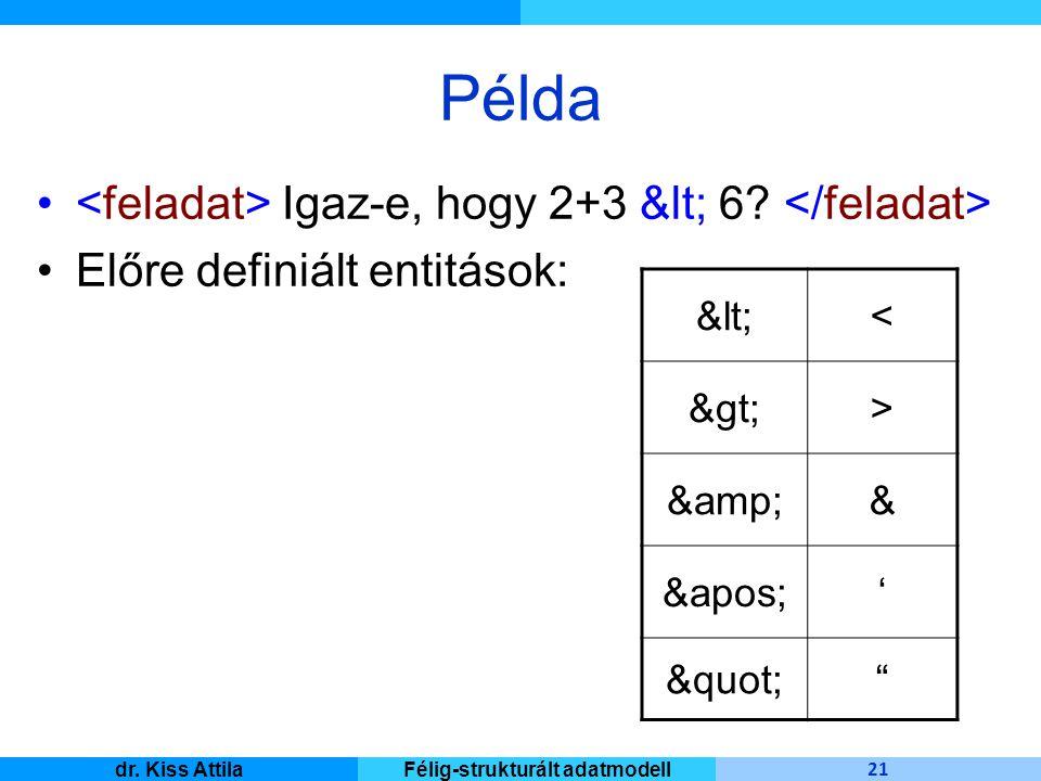 Master Informatique 21 dr. Kiss AttilaFélig-strukturált adatmodell Példa Igaz-e, hogy 2+3 &lt; 6? Előre definiált entitások: &lt;< &gt;> &amp;& &apos;