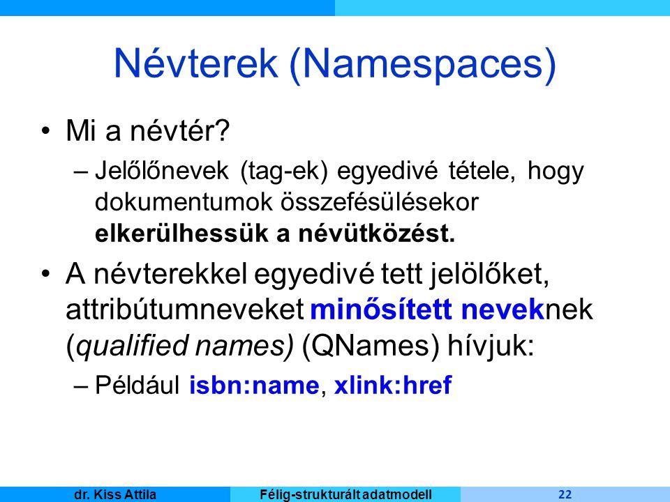 Master Informatique 22 dr. Kiss AttilaFélig-strukturált adatmodell Névterek (Namespaces) Mi a névtér? –Jelőlőnevek (tag-ek) egyedivé tétele, hogy doku