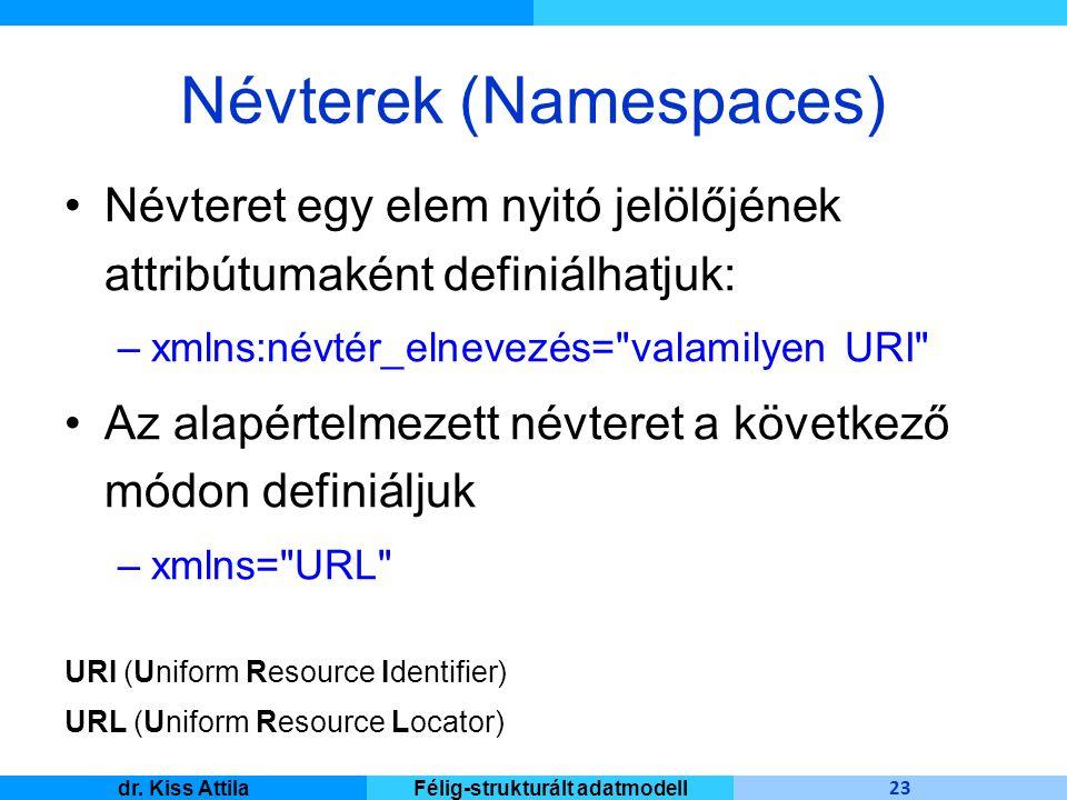 Master Informatique 23 dr. Kiss AttilaFélig-strukturált adatmodell Névterek (Namespaces) Névteret egy elem nyitó jelölőjének attribútumaként definiálh